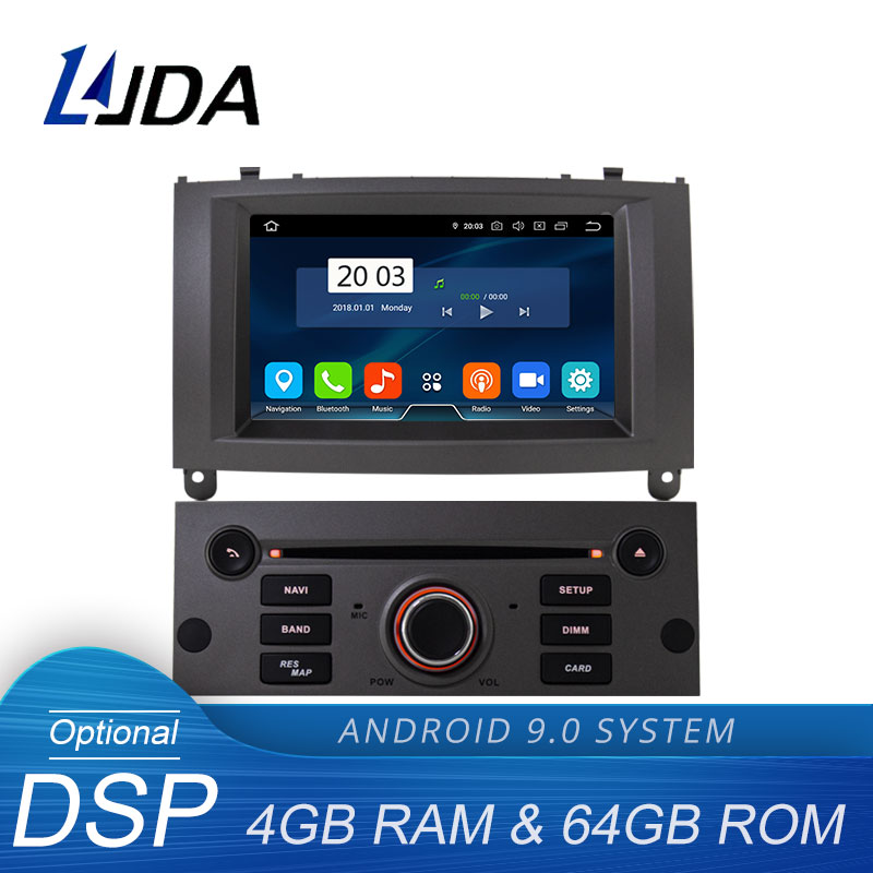LJDA 1 Din Octa Cores Auto Radio Android 9.0 Car DVD Player For PEUGEOT 407 GPS Navigation Audio 4G+64G Stereo Multimedia DSP image