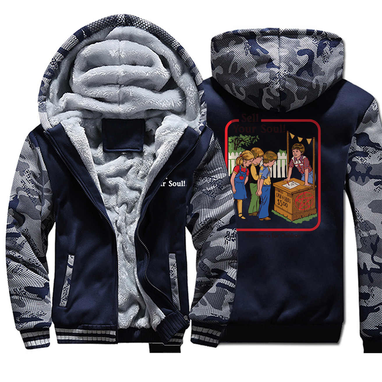 Men sell your soul trend print hooded hoodie camouflage plus velvet thick jacket 2019 autumn winter hip hop zipper outwear coat