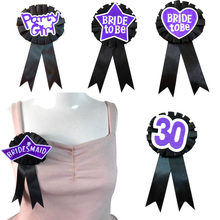 10pcs Black ribbon purple felt brooch glitter heart Bride to be badge bridesmaid button 18 21 30 40 birthday hen party pin(China)