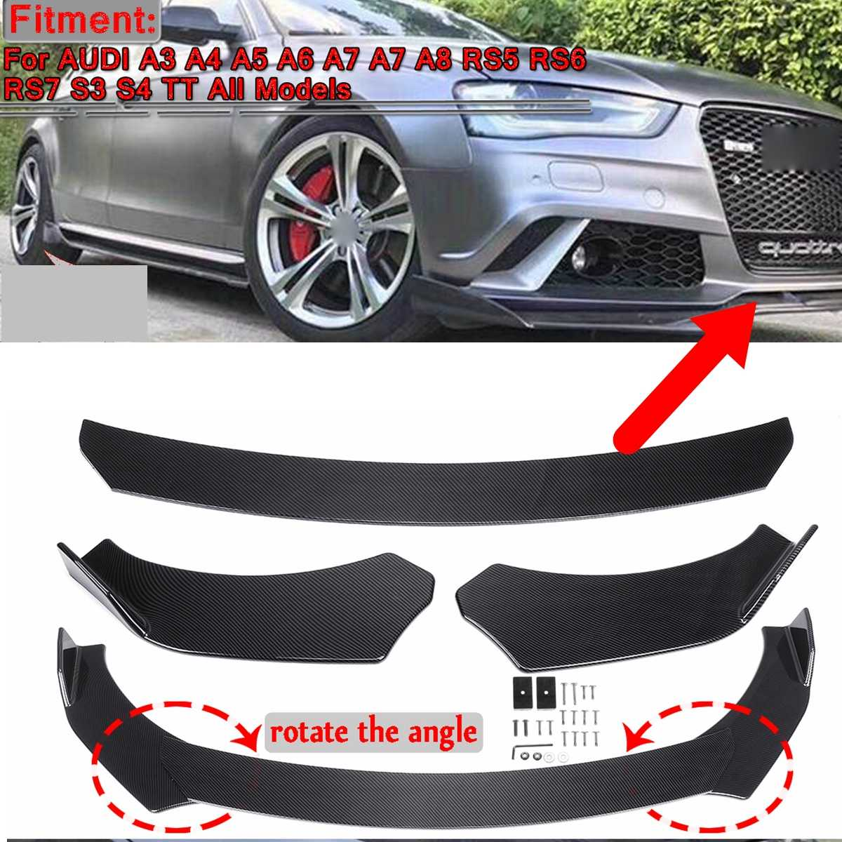 3pcs Universal Car Front Bumper Splitter Lip Spolier Diffuser Body Kit Protector For Audi A3 A4 A5 A6 A7 A8 RS5 RS6 RS7 S3 S4 TT
