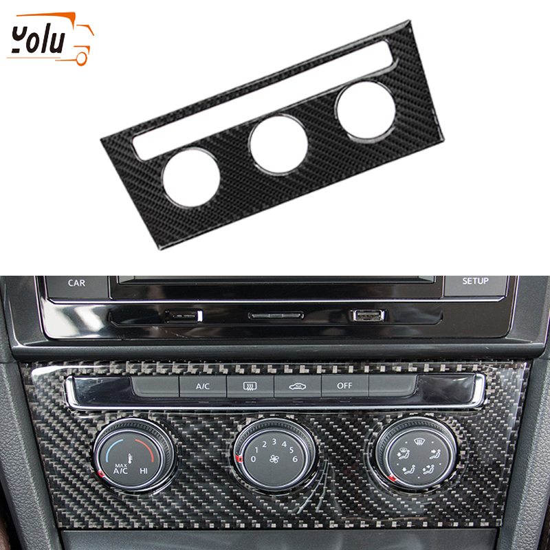 YOLU Carbon Fiber Car Central Control Air Conditioning Rotating Button Frame Decorative <font><b>Stickers</b></font> for <font><b>VW</b></font> <font><b>Golf</b></font> <font><b>7</b></font> 2013-2017 image