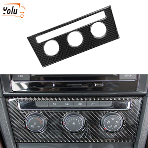 Yolu Koolstofvezel Auto Centrale Controle Airconditioning Roterende Knop Frame Decoratieve Stickers Voor Vw Golf 7 2013-2017