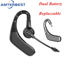 AMTERBEST M8 Wireless Bluetooth Headsets Business Hands Free Noise Cancelling Earphones Headphones Double Battery with Mic august ep725 wireless sweatproof sports earphones for gym running active noise cancelling bluetooth headphones headsets with mic