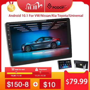 "Image 1 - Podofo 2 din Android Car Radio 2+32G 2 DIN Car Multimedia Player 2.5D 10.1"" 2DIN Autoradio for VW/Volkswagen/Toyota/Nissan/Kia"
