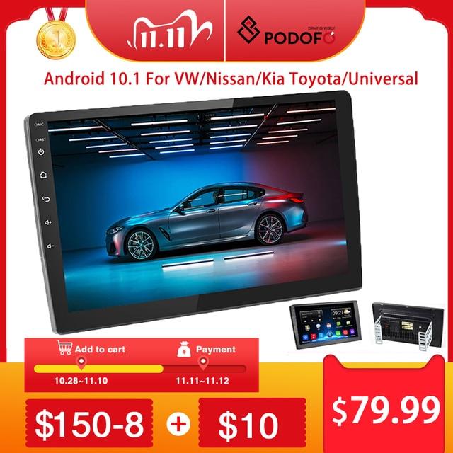 "Podofo 2 din Android Car Radio 2+32G 2 DIN Car Multimedia Player 2.5D 10.1"" 2DIN Autoradio for VW/Volkswagen/Toyota/Nissan/Kia"