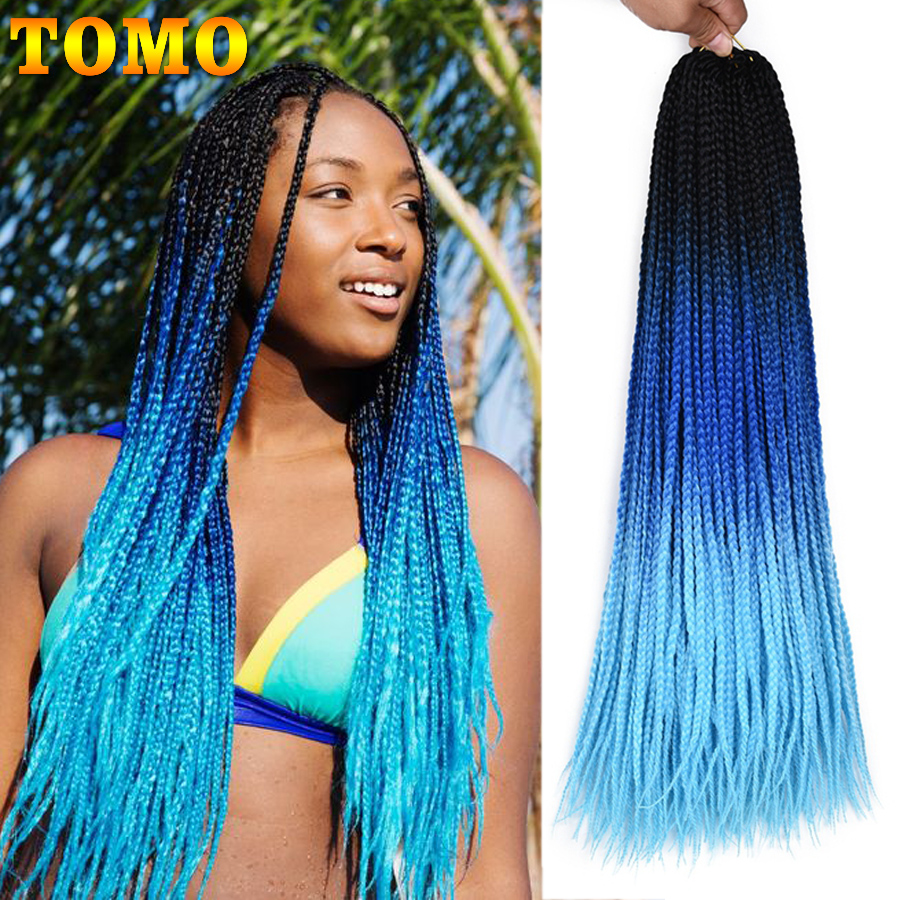 TOMO 24Inch Box Braids Crochet Braids 22Strands Synthetic Ombre Rainbow Braiding Hair Pink Pre Loop Crochet Hair Extensions