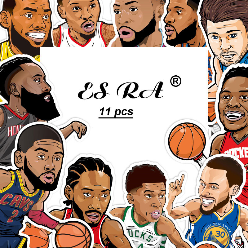 11 Pcs/Set  BasketBall Stars Stickers Waterproof PVC Stickers Toys Laptop  Pitcher Bottle Luggage Notebook Decorate For Boys
