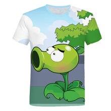 Planta de verão vs zombies 3d imprimir crianças t camisas jogo dos desenhos animados meninos roupas dos miúdos camiseta roupas para meninos adolescentes