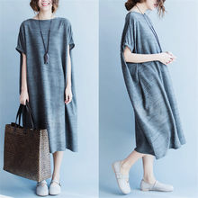 Summer New Products Fashion Large Size Simple Mid-length Comfortable Short Sleeve T-shirt Korean Version Loose Large Size Dress