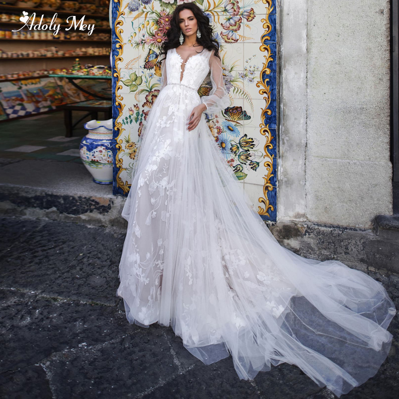 New Gorgeous Scoop Neck Appliques Court Train Mermaid Wedding Dresses 2020 Luxury Sashes Beaded Long Sleeve Trumpet Bride Gown