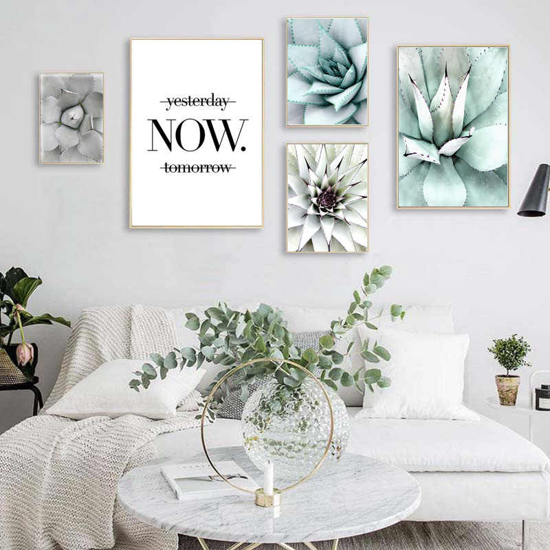 Scandinavian Green Plant Succulent Landscape Canvas Poster Life Quote Nordic Wall Art Print Painting Pictures for Living Room