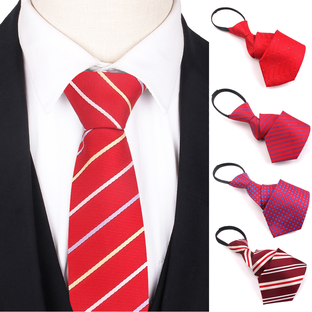 Simple Zipper Ties For Men Women Striped Mens Tie For Business Wedding 8cm Wide Skinny Neck Tie Casual Slim Red Purple Necktie