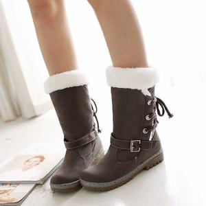 Image 4 - Botas de invierno de terciopelo para mujer, Botines cálidos con cordones, para invierno, 2020