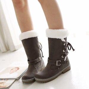 Image 4 - Winter Boots Women  Warm Velvet Woman Booties Shoes 2020 Mid calf Lace Up  Winter Women Shoes Female Botas Botines Ladies Shoes