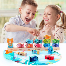 New Kitten Fishing Early Education Recognition Knowledge Digital Superimpose Children's Educational Wooden Toys
