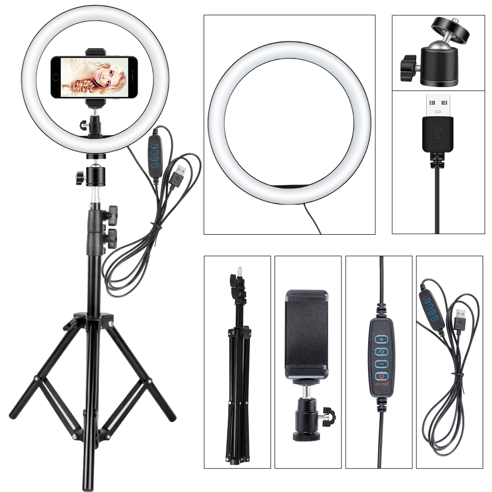 LED Selfie Ring Light Photography Dimmable Ring Light Youtube Video Live Photo Studio Light With Phone Holder USB Plug Tripod