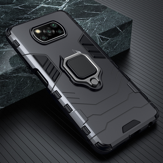 KEYSION Shockproof Case for Xiaomi POCO X3 GT NFC M3 Pro 5G F2 Ring Stand Phone Back Cover for Xiaomi Pocophone X3 Pro X2 F3 F1