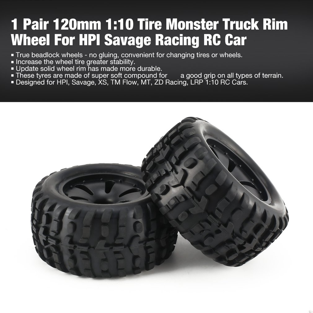 1 Pair 1:10 RC Car Tire Monster <font><b>Truck</b></font> Rim solid Wheel High Speed for HPI, Savage, XS, TM Flow, MT, ZD Racing <font><b>Parts</b></font> Refit 120mm image