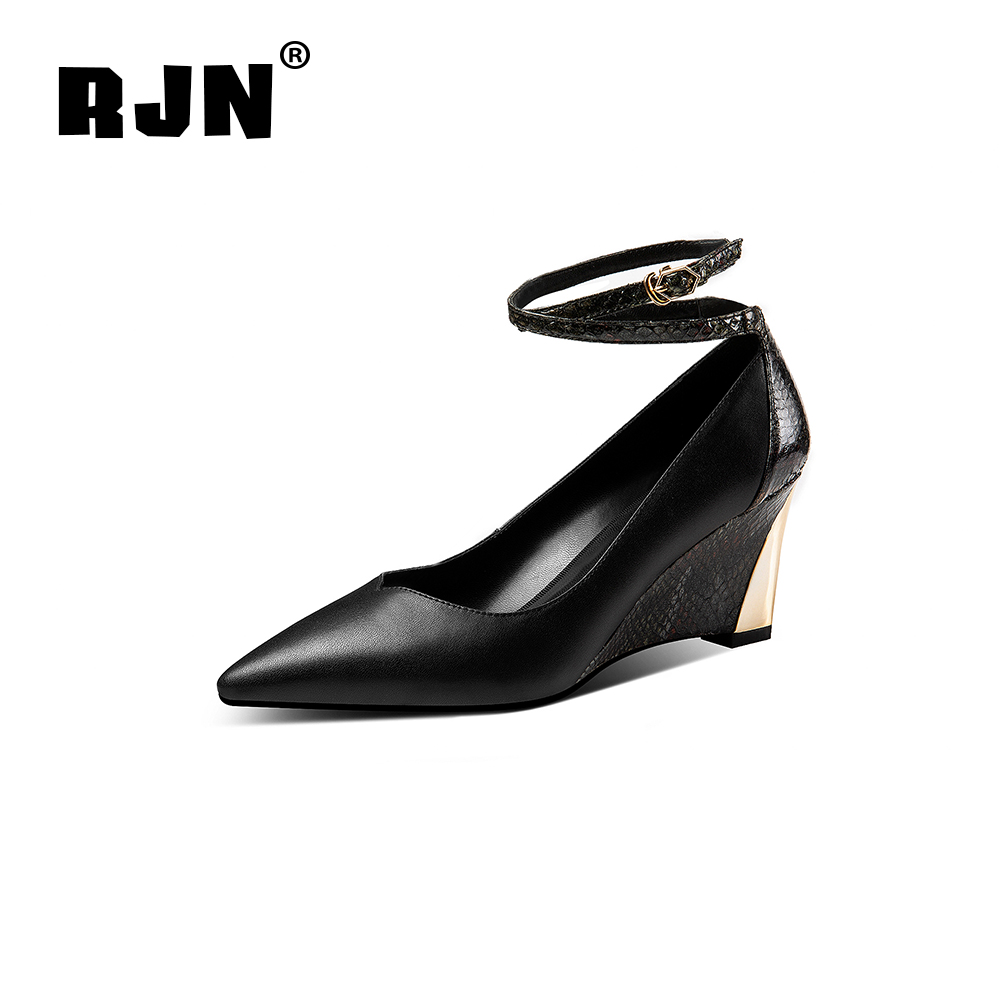 New RJN Sexy Serpentine Printing Wedge Pumps Ankle Buckle Strap Cow Leather Pointed Toe High Heel Women Shallow Well Shoes RO43