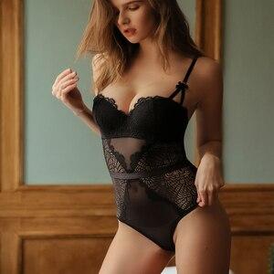 Image 1 - Fransız marka süper Push Up sütyen seti seksi dantel Bodycon kadın iç çamaşırı nakış Hollow korse pijama Onesies külot seti