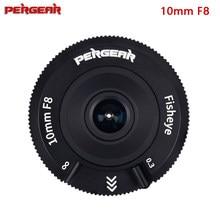 Pergear 10mm f8 panqueca fisheye lente da câmera APS-C formato 80g de peso leve para sony e/canon eos-m/fuji/m4/3 montagem