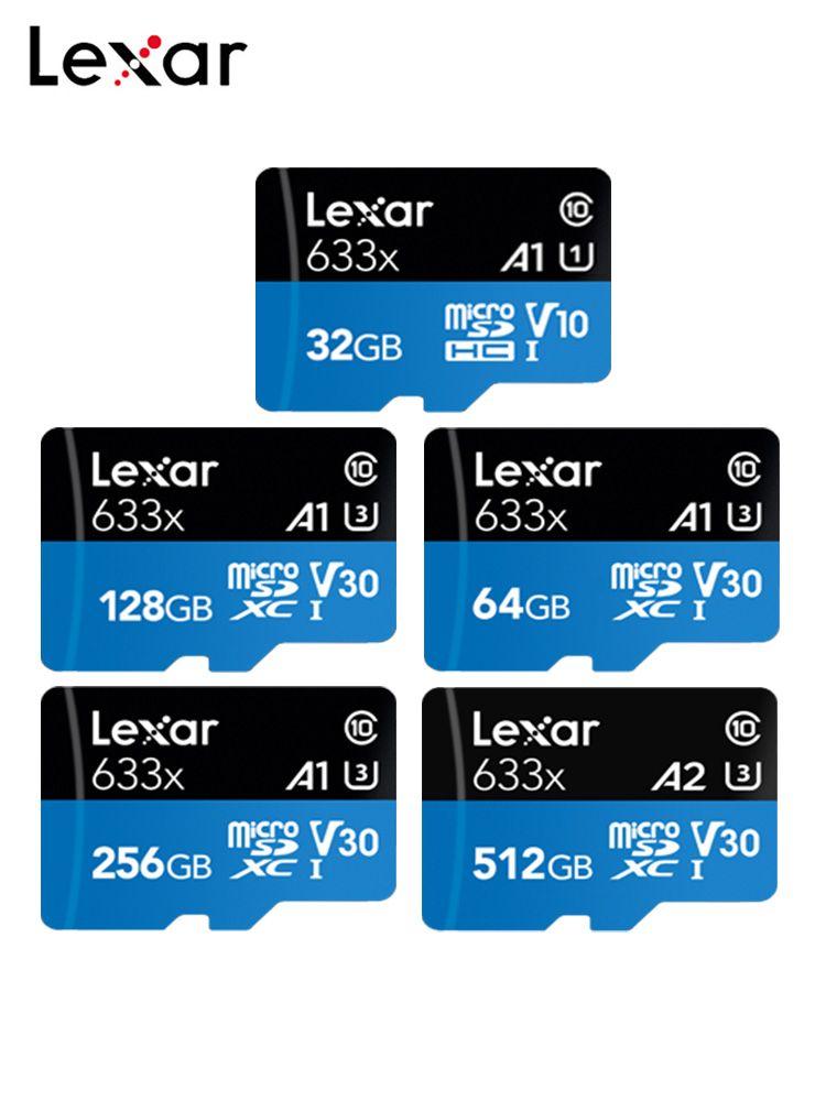 Original Lexar 512GB Micro SD Card 256GB Memory Card 128GB Max 95MB/s 64GB Class 10 633x TF Card 32GB Flash Card With Adapter