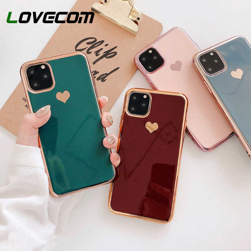 LOVECOM Phone Cases For iPhone 11 Pro Max XR XS Max 6 6S 7 8 Plus X Solid Color Electroplated Heart Soft TPU Back Cover Coque