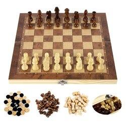3 em 1 conjunto de xadrez de madeira internacional tabuleiro de xadrez de madeira jogos damas jogo de quebra-cabeça presente de aniversário engajedrez para crianças