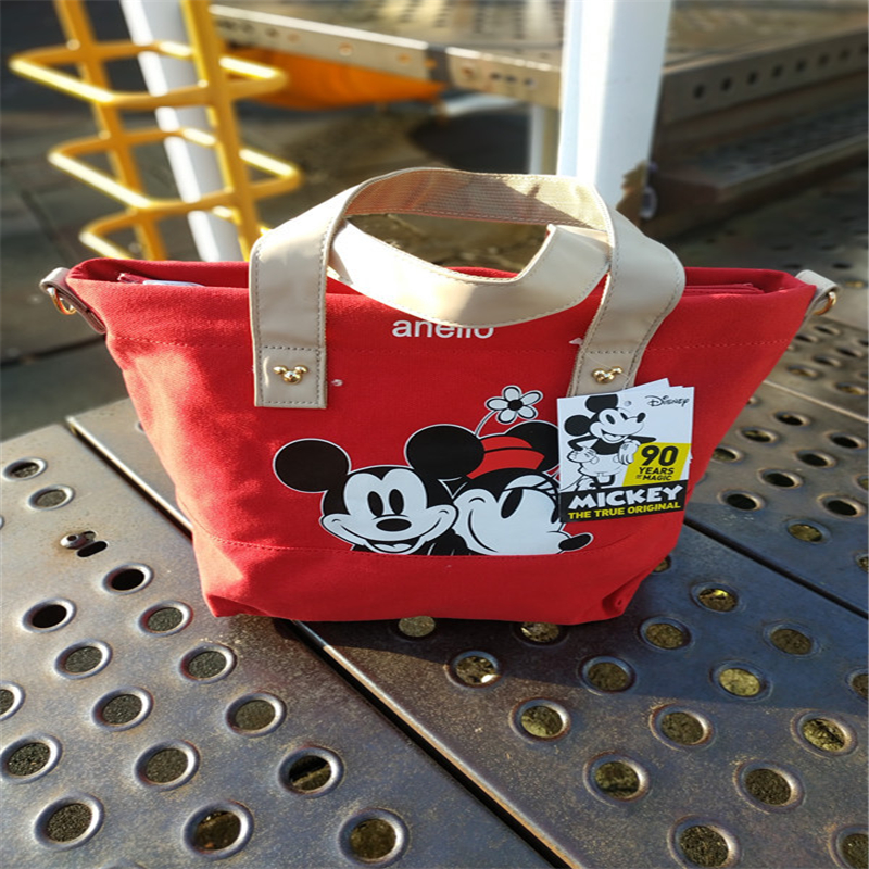 Disney Cartoon Mickey Mouse Women's Canvas Bag Shoulder High Capacity Portable Cartoon Bag For Shopping Handbags