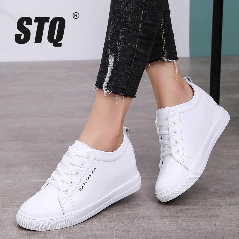 STQ Autumn Women Flats Sneakers Lace Up