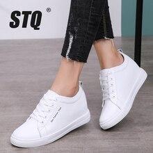 STQ الخريف النساء الشقق أحذية رياضية الدانتيل يصل حذاء كاجوال المرأة الشتاء منصات أسافين أحذية السيدات خفيفة الوزن أحذية رياضية WD2022