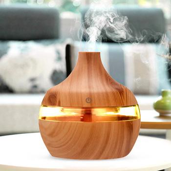 Elektryczny nawilżacz powietrza z ziarnem drewna Mini niezbędny dyfuzor olejów zapachowych ultradźwiękowy nawilżacz USB z oświetleniem LED tanie i dobre opinie alloet 1l NONE 36db CN (pochodzenie) Ulatniające się opary Aromaterapia Gospodarstw domowych Klasyczny kolumnowy