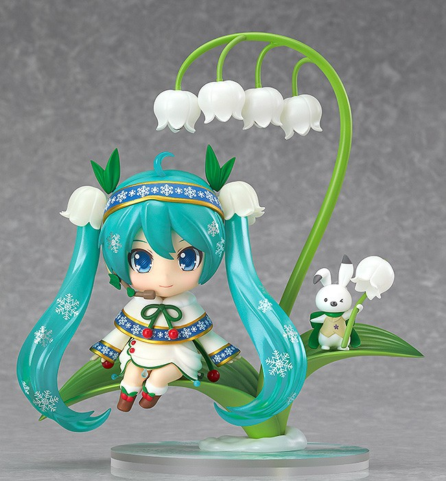 12cm VOCALOID Game 493# Hatsune Snow Miku PVC Anime Action Figure Lotus Leaf Snow Bell Ver Model Collectible Kawaii Toys Doll