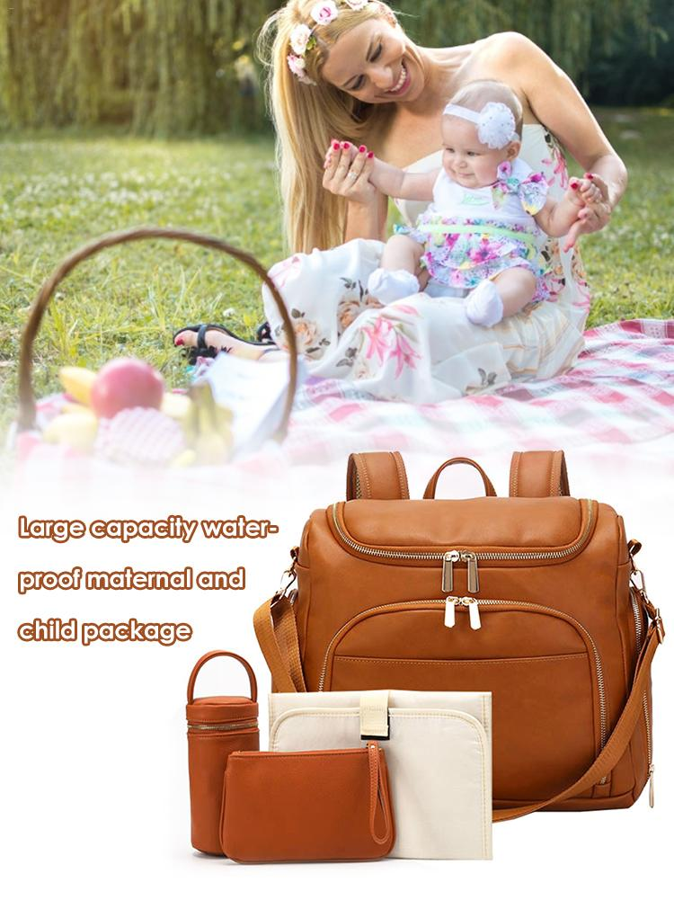 Diaper Bag Backpack Convertible Travel Tote Diaper Bag PU Leather Waterproof Nappy Bag Baby Diaper Backpack