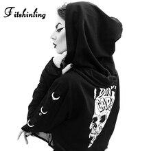 Fitshinling Mesh Patchwork Skull Gothic Hoodies For Women 2019 Autumn Winter Hoody Goth Dark Black Slim Hooded Sweatshirt Female