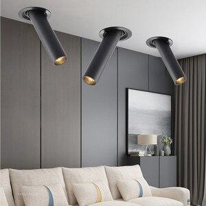Image 5 - Preto/branco longo tubo teto recesso led ponto lâmpada ângulo rotativo luz de teto 12w para cozinha quarto imagem tv fundo