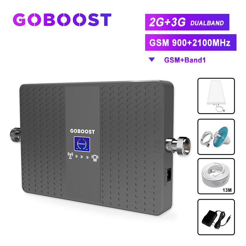 Repeater Gsm 900mhz 2g 3g Cellular Booster Dual Band Mobile Phone Signal Amplifier 70db Band1 2100mhz LDPA+ceiling Antenna Kit *