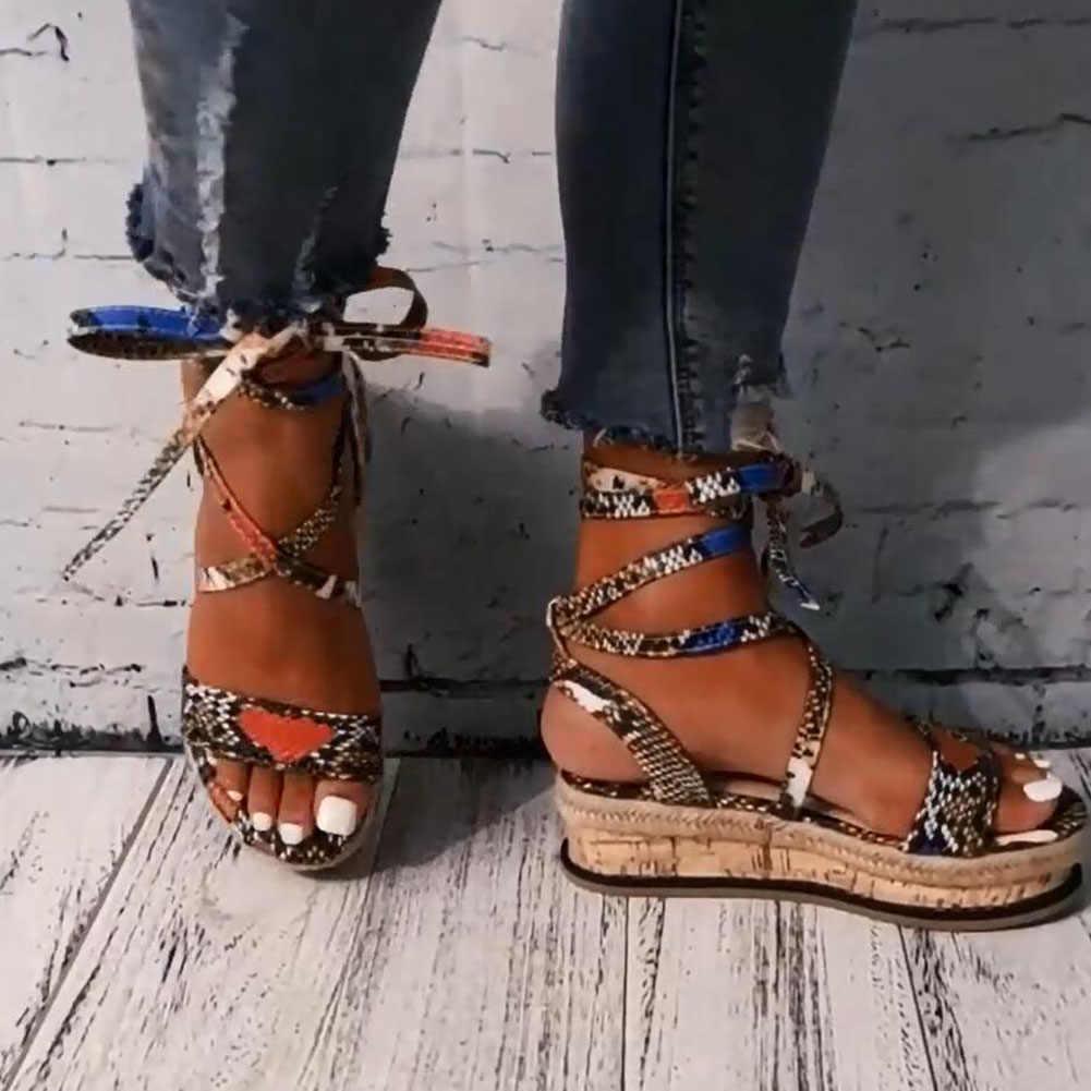 Wenyujh ฤดูร้อนผู้หญิงงูรองเท้าแตะแพลตฟอร์มส้นข้ามสายข้อเท้าลูกไม้ P EEP Toe 2020 บีชปาร์ตี้สุภาพสตรีรองเท้า Z apatos de mujer