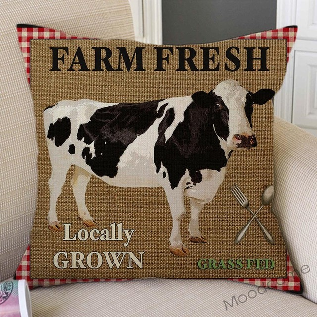 Vintage Farm Life Rooster Cow Vegetable Fruits Farm Fresh Art Home Decor Pillow Cover Relaxed Leisure Rural Life Cushion Covers 1