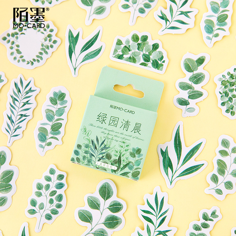 Mohamm 45PCS Boxed Sticker Green Park Early Morning Series Creative Fresh Sealing Sticker Flakes Scrapbooking Girl School Suppli