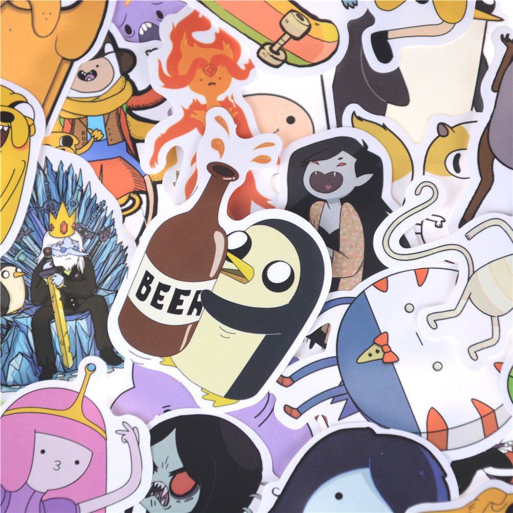 30pcs Cartoon Bicycle Motorcycle Notebook Laptop Toys Stickers Pvc Adventure Time Waterproof Sticker For Luggage Wall Car Laptop