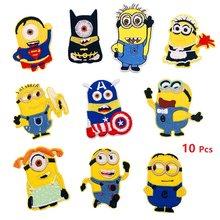 Desenhos animados bonito pouco amarelo homem roupas bordado remendo adesivos de pano de engomar adesivos de roupas para crianças decoração emblemas