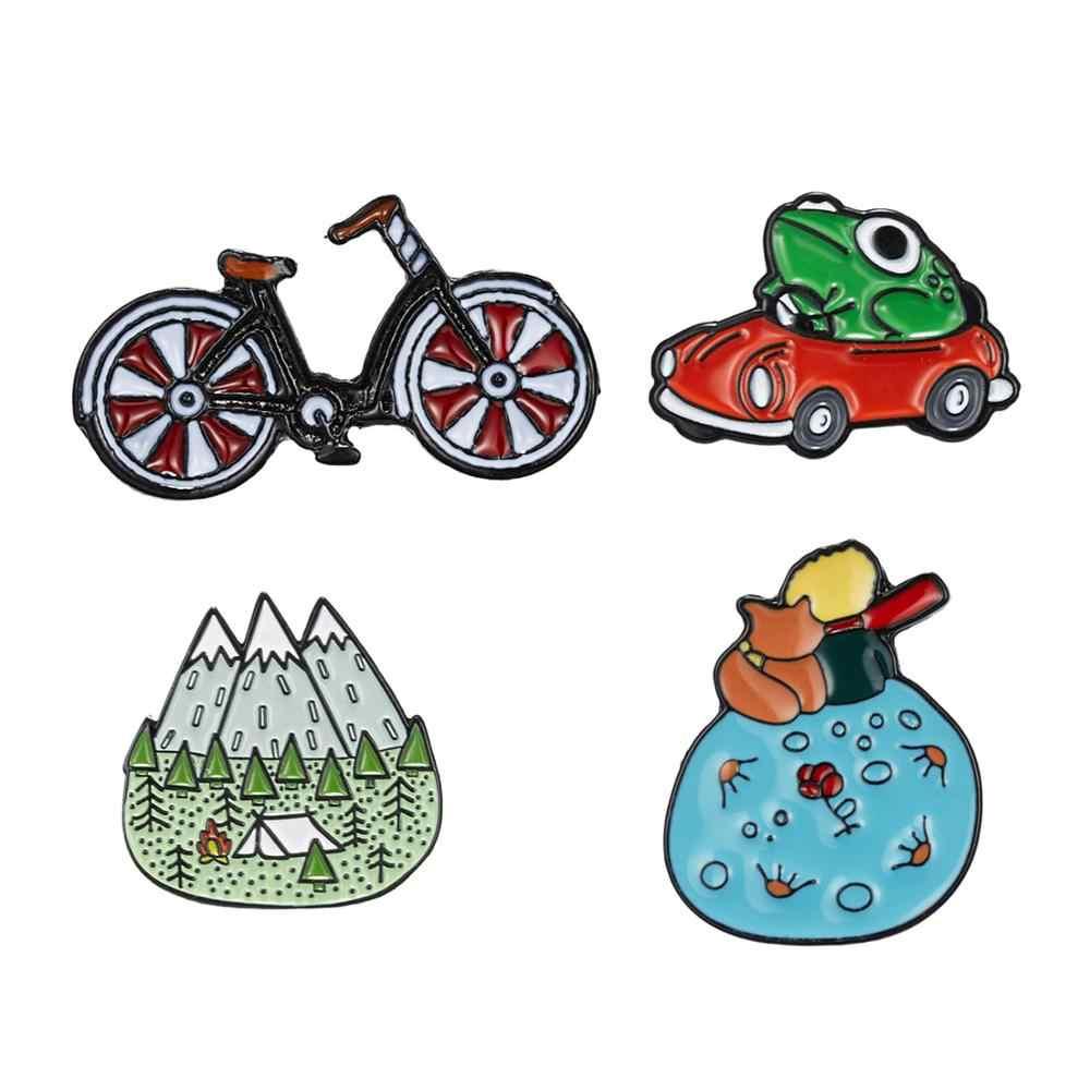 Горы деревянные Джунгли/не быть скучным взрослым/лягушка вождения красный автомобиль газа/велосипед эмаль значок брошь шляпа сумка аксессуары
