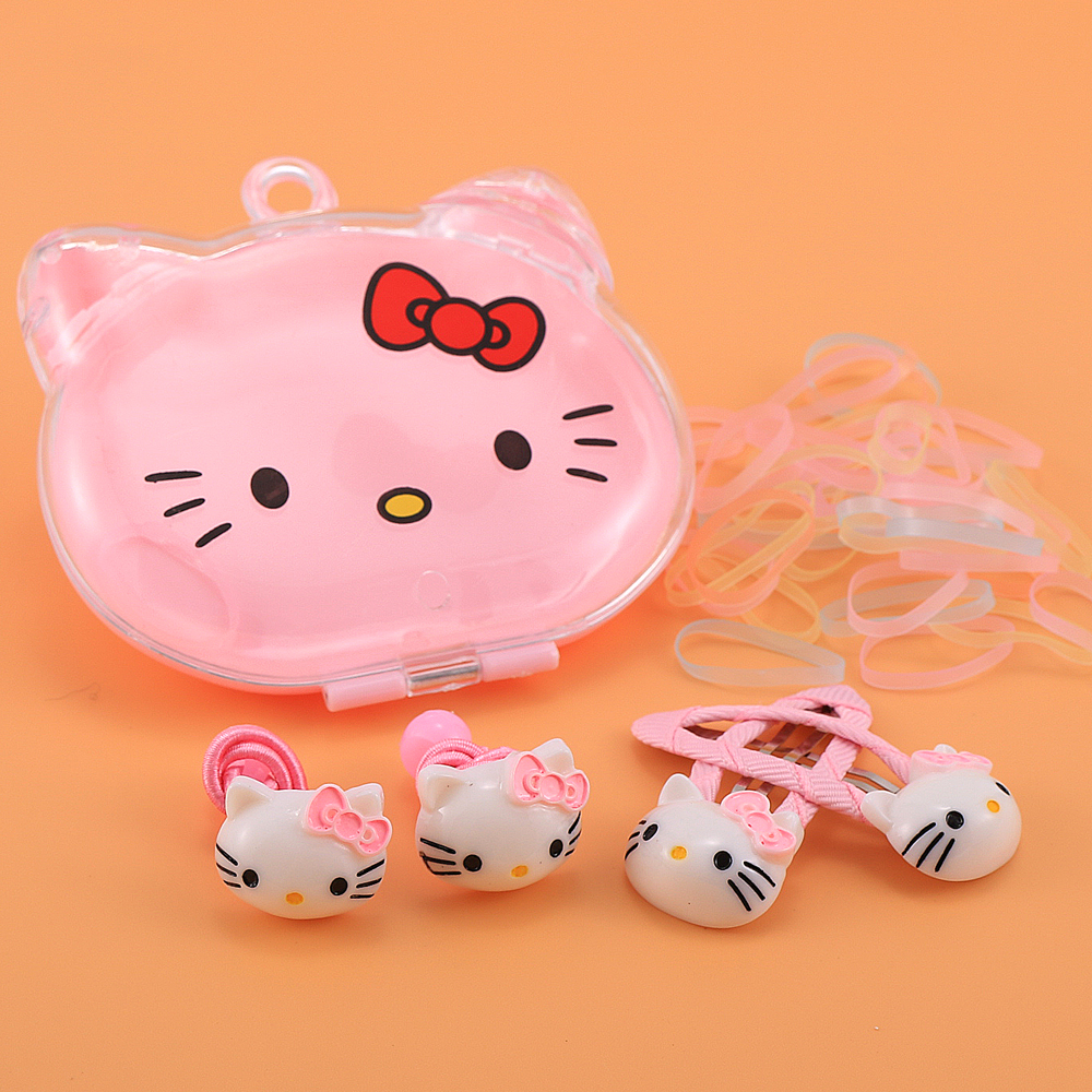 1box Acrylic Hello Kitty With Elastic Hair Bands Hair Clips About 10pcs Gum For Hair KIDS Kawaii Accessories