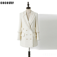 Womens White Tweed Jackets Coats Autumn Small Fragrance Long Sleeve Elegant Tassel Jackets Double breasted Long Coats Outerwear