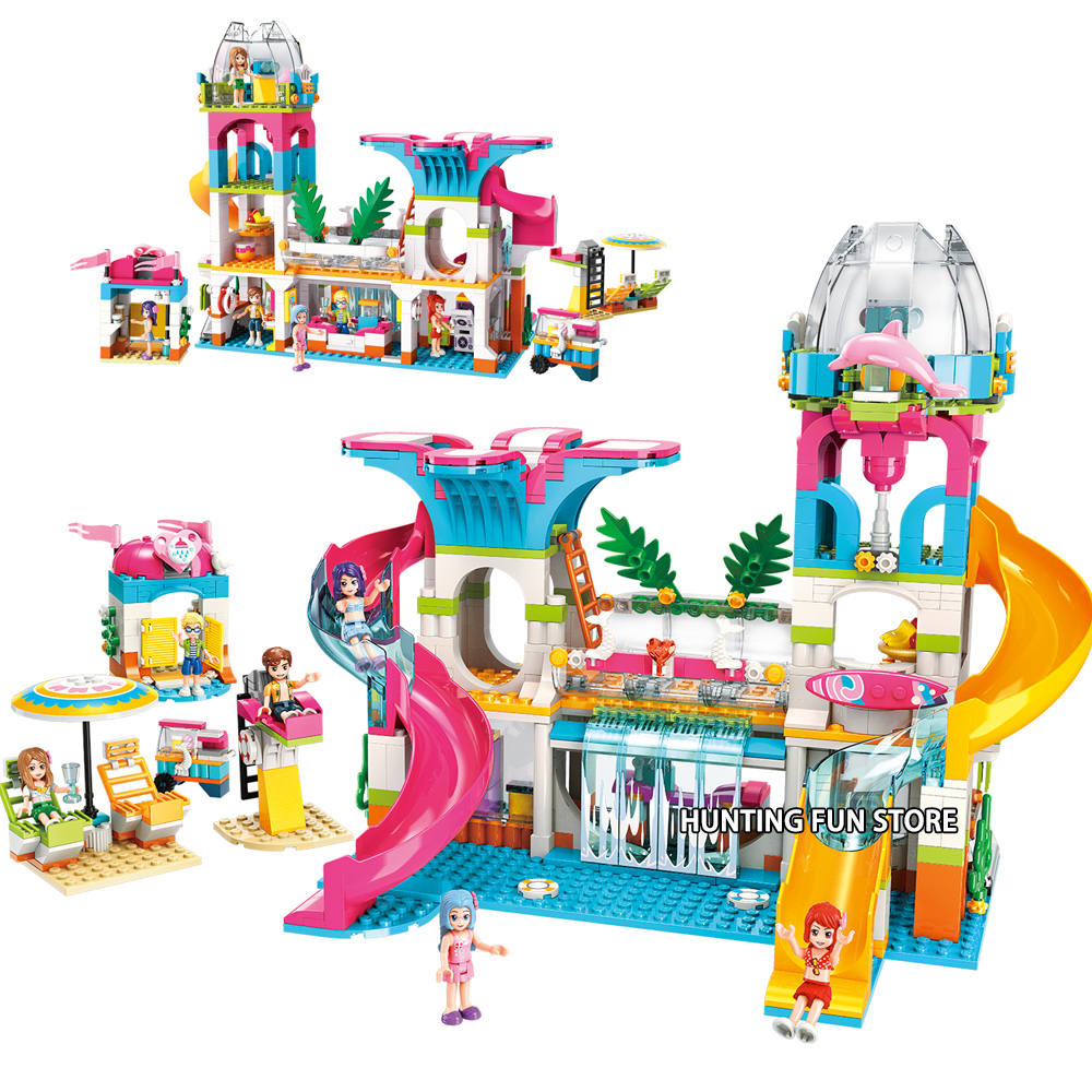 New 2019 Fit Friends Princess Beach Sunshine Water Paradise Set Water Slide Figures Educational Building Blocks Toy For Girls