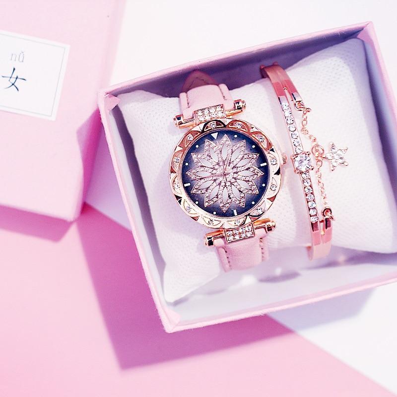 2019 kobiet zegarki zestaw Starry Sky bransoletka damska zegarek Casual skórzany sportowy zegarek kwarcowy zegar Relogio Feminino 1