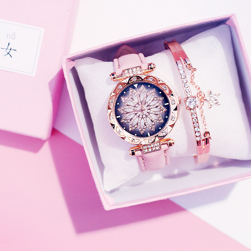 2019 Women Watches Set Starry Sky Ladies Bracelet Watch Casual Leather Sports Quartz Wristwatch Clock Relogio Feminino(China)