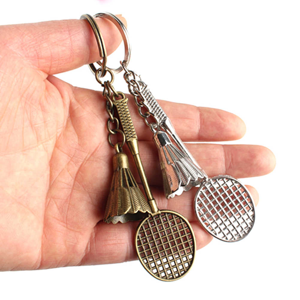 Raquete de Badminton Peteca Pingente chaveiro de Metal Chave Anel Titular Saco Ornamento Acessórios Jóias Presentes Da Corrente Chave Bonito