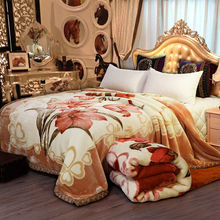Floral Raschel Blanket Reversible Soft Cozy Fluffy Luxury Double Queen King Thickened Bedding Warm Plush Double-layer Bed Cover